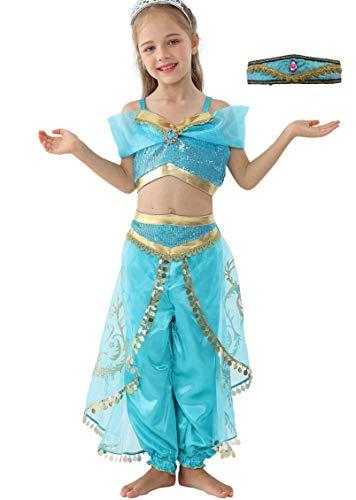 Lito Angels Mädchen Jasmin Kleid Prinzessin Kostüm Bauchtanz Weihnachten Halloween Verkleidung Karneval Party Outfit mit Stirnband Größe 10-11 Jahre A