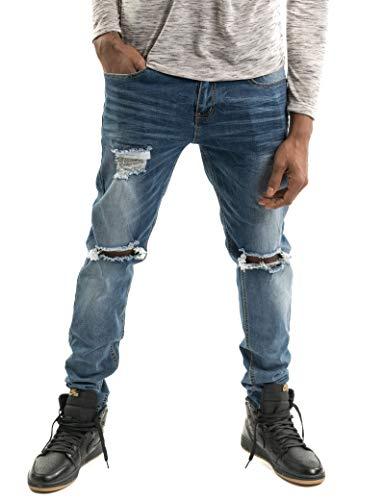 Men's Black Skinny Distressed Jeans Splatter Paint Jeans Denim Painter Masob & Co. (Light Blue Painter, 34x32)