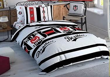 Juego de ropa de cama del Besiktas Istanbul con licencia original, color blanco/gris con logo