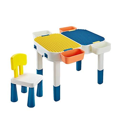 Aktivitäten Tisch Für Kinder - 4 In 1 Kindertisch Mit Stühle, Aktivitätstisch Spieltisch, Table And Chairs Set, Baustein Tisch Mit Stauraum Basteltisch Für Kinder, Studiertisch Spieltisch, 58x58x45cm