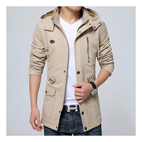 Hyvaluable Herren Jacken Herbst und Winter Herren Plus Samtjacke Größe Langer Mantel (Farbe : Khaki, größe : XL)