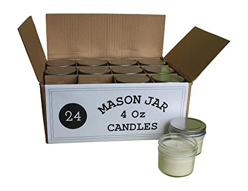 Set of 24 Bulk Wholesale Mini Mason Jar Candles - 4 Ounce - Perfect for Weddings, Restaurants, Gifts, Baby Showers