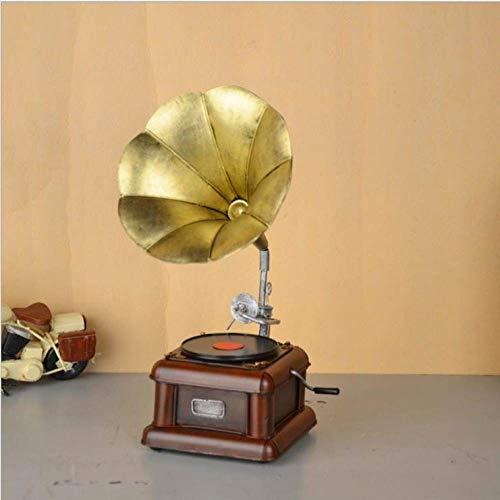 YL-adorn art sculptuur beeldje metaal vintage gramofoon sculptuur/beeld geel platenspeler figuur artwork voor de woonkamer tafel accessoires kerst cadeau kantoor bar ornamenten