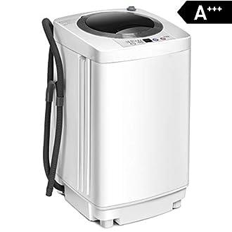 Schleuder COSTWAY Waschmaschine Waschvollautomat Display // 4,5kg //310W// 50×50×85cm // Weiß Mini Waschmaschine mit Pump