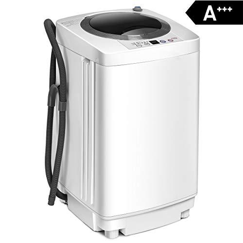 COSTWAY Waschmaschine, Waschvollautomat Toplader, Miniwaschmaschine / 3,5kg / Pump/Display/A+++