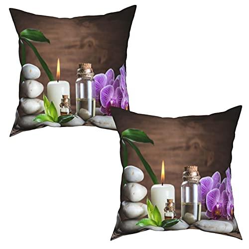 YANAIX Packung mit 2 Kissenbezügen Kissenbezüge,Massageöl Weiß Zen Balance Stones Orchidee und,Quadratische...