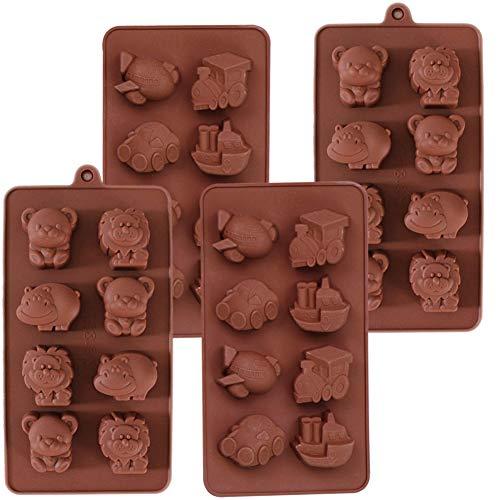 Silikon Schokoladenform Pralinenform, NALCY Löwen Nilpferd Tier Schokoladenform und Silikonform für Auto Schiff Flugzeug, für Kuchen, Schokolade, EIS, Törtchen, 4 Stück
