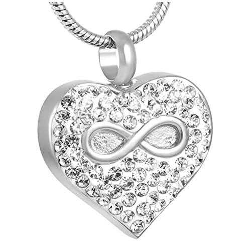 Ysain Cremación Joyería Infinite Love 'Logo Heart Urn Diseño Clásico Memorial Ash Keepsake Pet/Human Ashes Cremación Colgante Collar Sostener Cenizas Urnas