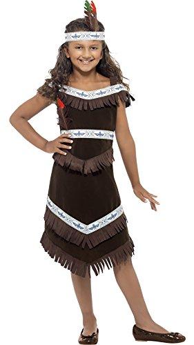 erdbeerclown - Kinder Mädchen Indianerin Kostüm mit Fransen Haarband Federn, 122-134, 7-9 Jahre, Schwarz