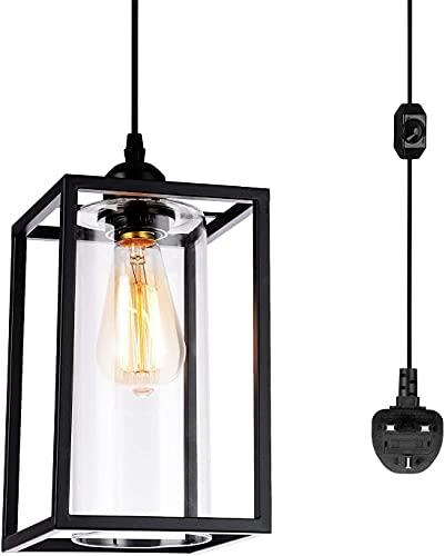 Accesorios de iluminación colgantes con cable colgante de 4,5 m y interruptor de atenuación, lámpara de techo colgante de metal vintage E27 con sombra de vidrio para habitación de cama, cocina, comedo