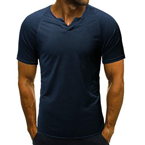 CAOQAO Camiseta Hombre Fashion 2019 Moda de Verano Slim Fit Casual con Cuello en v Manga Corta Camiseta Top Blusa