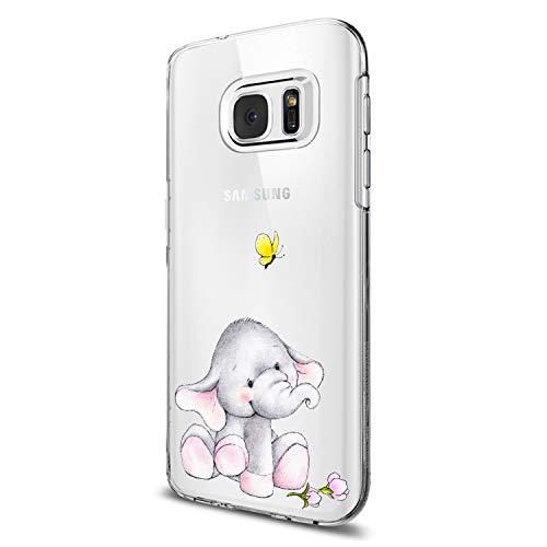 Funda Samsung Galaxy S7 / S7 Edge / S6 / S6 Edge Carcasa Elefante Panda Flor Mariposa Diseño Patrón Estuche Transparente Silicona TPU Suave Caja Premium Delgado Proteccion Caso (S6 Edge, 7)