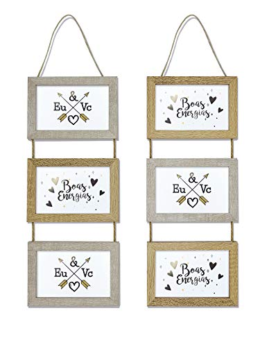 TIME HOME DEVELOPMENT Conjunto Marcos Fotos Triple de Madera para Colgar en Pared - Collage Original para Fotos 10x15 cm...