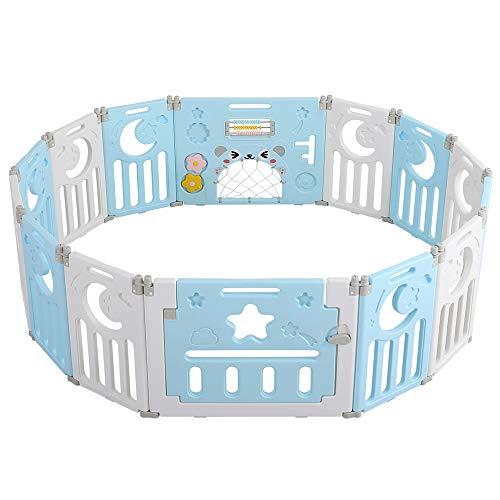 Parc bébé Dripex pour enfants, 14 panneaux, en plastique, pliable, barrière de sécurité pliable / pliable - Zone d'utilisation : 148 x 148 cm (bleu)