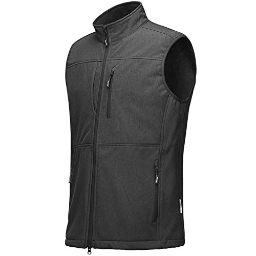 Outdoor Ventures Men's Running Vest Outerwear, Lightweight Windproof Fleece-Lined Softshell Sleeveless Jacket for Golf