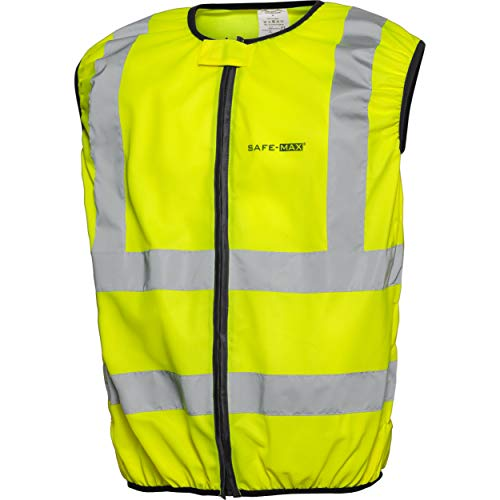 Safe Max® Sicherheitsweste Warnweste Motorrad Fahrrad gelb Warnweste Motorrad Warnweste mit Reißverschluss, reflektierende Streifen, Dehnbare Elemente, verdeckter Reißverschluss, Gelb, XXL / 2XL