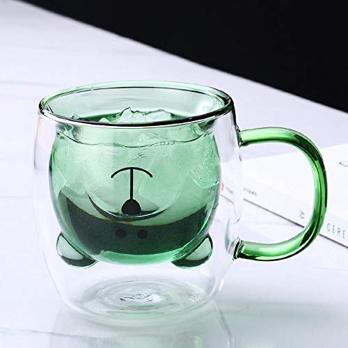 Copa de oso de vidrio creativo taza de café doble taza de leche