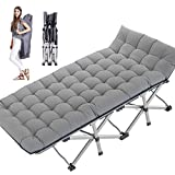 MOPHOTO Folding Cot Bed Camping Cot Supports 880lbs Tent Cot with Mattress Pad Double Layer 1200D Cloth Heavy Duty Extra Wide for Indoor Office Outdoor Hunting (C10 1200D Gray with Pearl Cotton pad)