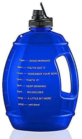 Botella de agua deportiva de 1 galón, botella de agua de 3,78 l, gran botella de deporte, sin BPA, botella de agua de 3,78 litros, antigoteo, botella de agua para fitness, deporte, gimnasio (azul)