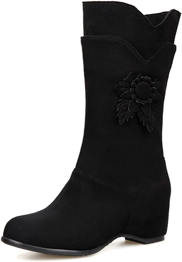 Vimisaoi Sweety Mid Calf Boots for Women, Pull On Round Toe Chunky Mid Heel Splicing Internally Increased Boots