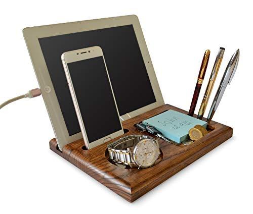 Docking Station in legno di cenere con portachiavi portafogli e porta orologio regalo da uomo compatibile con qualsiasi telefono per uso quotidiano anche per Tablet