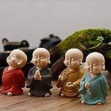 VBNHGF Bustos Esculturas Ornamentos Kungfu Chinês Monge Chá Conjunto Buda Artesanato Chá Pet Areia Roxa Buda Chá Prato Decoração Acessórios-E_11.5 * 6Cm