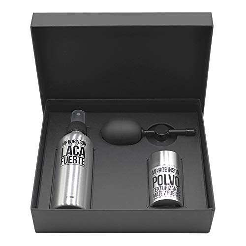 Pack regalo para hombre: laca, polvos para peinado y aplicador difusor | Cuidado para el pelo profesional | Kit de cuidado personal para hombre Mr. Robinson Belfort | Sin sulfatos y sin parabenos.