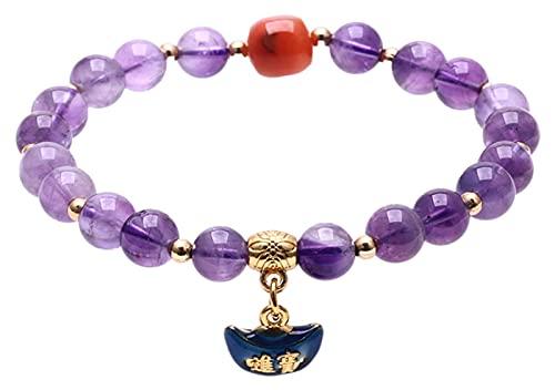 Feng shui riqueza pulsera natural amatista pulsera quemado azul colgante bricolaje único círculo budista budista pulsera atmósfera simple atrae afortunado regalo para hombre mujer pareja amigo AnimeFi