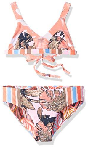 Maaji Girls' Little Fixed Triangle with Adjustable Tie Back Bikini Swimsuit Set, Cumbuco Praia Orange Palm, 2
