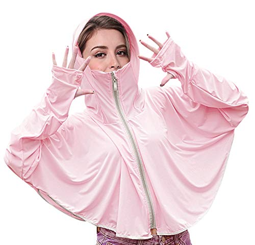 Bellady Sun UV Protection Shirts for Women, Hooded Rash Guard with Face Mask, Zip up Hoodie Swimsuit Cover ups, Pink