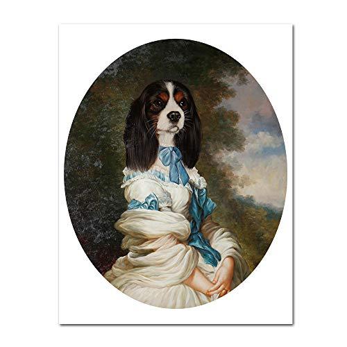 yhyxll Poster di Arte Vintage Cane Animale Retro Nostalgia Gentlewoman Pittura a Olio Stampa Stampa su Tela Immagine Soggiorno Decorazioni per la casa D 40x50cm