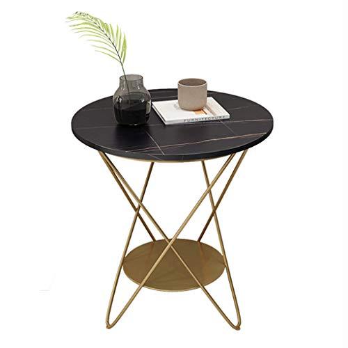LIYIN-Wall Clock Beistelltisch mit gesinterter Steinplatte, doppelschichtiger Beistelltisch Couchtisch mit goldenen Metallbeinen, Aufbewahrungslounge-Nachttisch