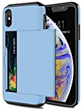 SAMONPOW Wallet Case for iPhone X Case with Card Holder Protective Case Dual Layer Shockproof Hard PC Soft Hybrid Rubber Anti Scratch Case for iPhone X iPhone Xs iPhone 10 5.8 inch Light Blue