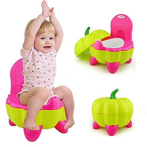 Malayas® Baby Töpfchen Kinder Toilette Tragbar Hohe Rückenlehne und ergonomisches Paprika-Form Design Spaß Lerntöpfchen und Fußbank für Ihre Kinder ersteToilette