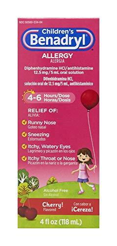 Children's Benadryl Allergy Liquid Medicine with Diphenhydramine HCl, Cherry, 4 fl. oz
