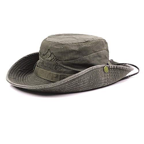 AoJuy Herren Baumwolle Geprägt Hut, Außen Sonnenschutz Breite Krempe Faltbar Dschungelhut Fischerhut für Angel Wandern - Armee Grün