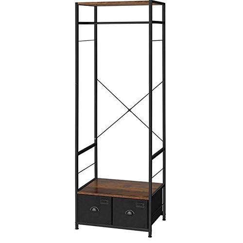 PiuShopping Mueble de recibidor, perchero de suelo, guardarropa, ahorra espacio, de madera, para perchas, 2 cajones, diseño industrial – 63 x 45 x 180 cm