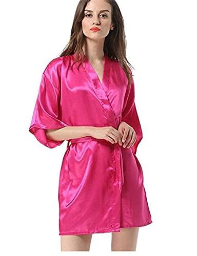 Bata de Mujer Negra Bata de baño Kimono Yukata Albornoz Ropa de Dormir de Color sólido SML XL XXL-a45-S