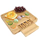 Cosiki 【Regalo de Abril】 Tabla de quesos de bambú   Fuente de Madera para Servir   - Bandeja de charcutería con Juego de Cubiertos: Ideal para Fiestas de Mesa de Vino y Queso, Bodas, Regalo de