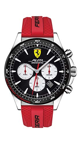 Ferrari Pilota - Reloj de cuarzo para hombre, acero inoxidable, correa de silicona, color rojo, 22 (Modelo: 0830596)