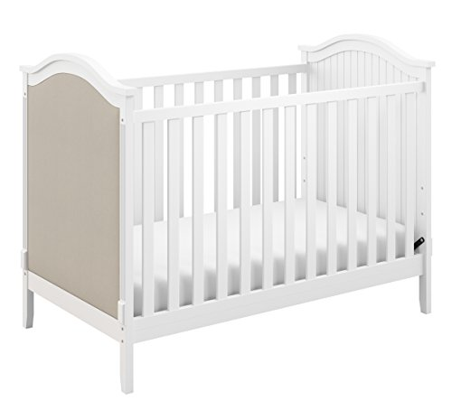Storkcraft Rosehill Upholstered 3-in-1 Convertible Crib, White/Sand, Easily Converts to Toddler Bed or Day Bed Three Position Adjustable Height Mattress (Mattress Not Included)