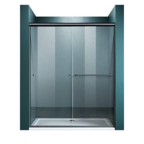 ELEGANT Double Sliding Shower Door 60 in. W x 72 in. H,Semi-Frameless Glass Shower Screen Panel 1/4