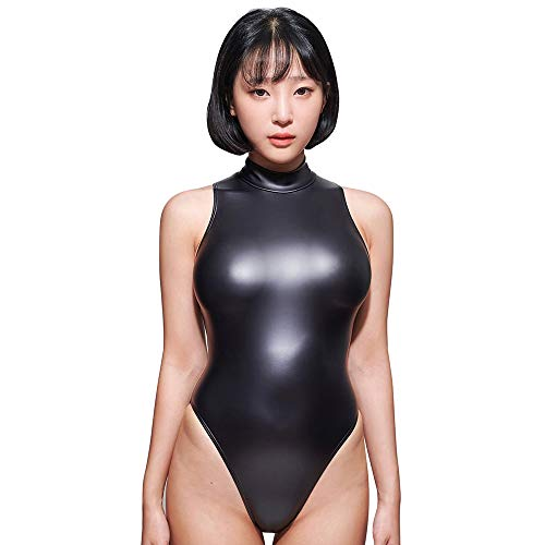 LEOHEX Sexy Matter schwarzer Trikotanzug, ärmellos, hoher Schnitt, einteiliger Badeanzug, japanische Badeanzüge Gr. L, a
