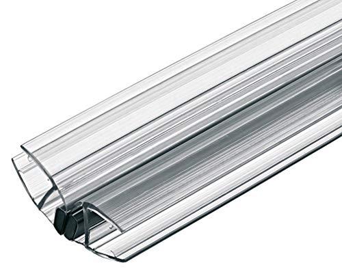 Gedotec Magnet-Dichtung Duschtür Duschdichtung 135° für Duschtrennwände - Duschkabinen - Schiebetüren | PVC Transparent | Glastür-Dichtung für Glasdicke 8-10 mm | 1 Stück - Dichtlippe für Glastüren