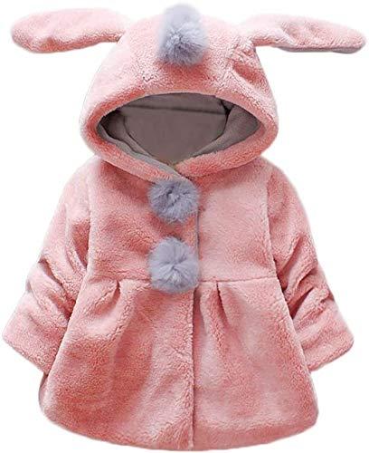 ZALA Abrigo Bebe Niña, Niño Orejas De Conejo Abrigo con Capucha Niña Ropa De Bebé Bebé Otoño E Invierno Abrigo Grueso Abrigo De Bebé Niña Recién Nacida (2,6-12 Meses)