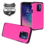 Eaglecell - Kompatibel mit Samsung Galaxy A6 (2018) SM-A600 - gummierte Hybrid-Hartschale + Bildschirmschutzfolie aus gehärtetem Glas, AH2 Black/Hot Pink