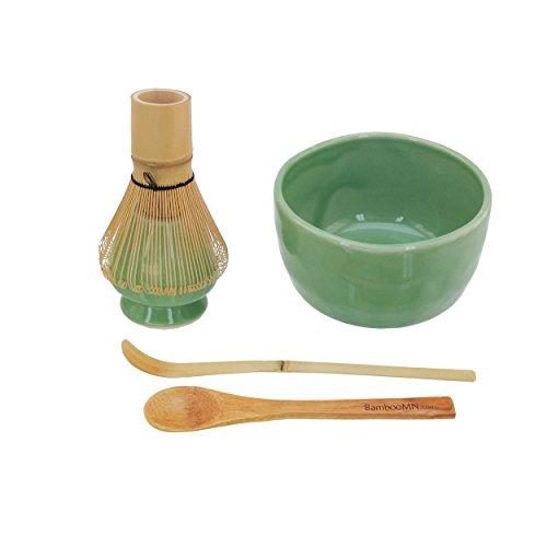 BambooMN Brand - Matcha Bowl Set (Includes Bowl, Rest,Tea Whisk, Chasaku, Tea Spoon) 1 Set Soft Light Green