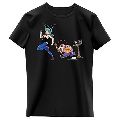T-shirt Enfant Fille Noir parodie Dragon Ball - Bulma et Tortue Géniale - Le Lièvre et la Tortue selon Akira Toriyama !! (T-shirt enfant de qualité premium de taille 7-8 ans - imprimé en France)