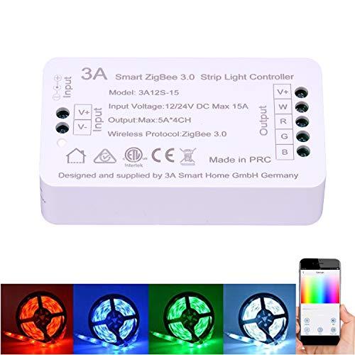 ZigBee RGBW RGB Streifen Lichtschalter Controller für Echo Plus Zigbee Hub Bridge Alexa Sprachsteuerung Smartphone APP Steuerung Einfarbige Streifen…