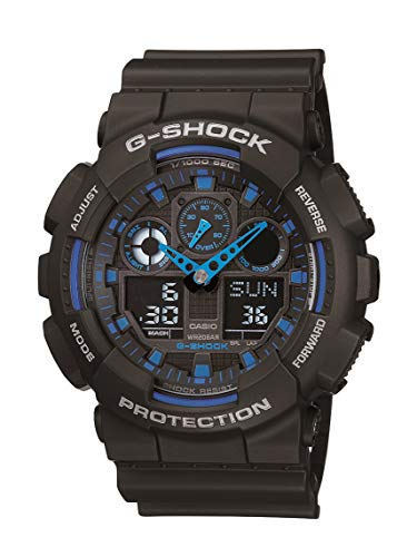 Casio Men's G XL Series Quartz Watch Strap, WR Shock Resistant Resin Color: Black and Blue (Model: GA-100-1A2CR)